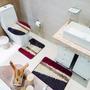 Jogo De Tapete De Banheiro Riviera Diagonal 3 Peças Jolitex