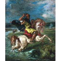 Lienzo Tela Caballero Moro Eugene Delacroix Francia Arte