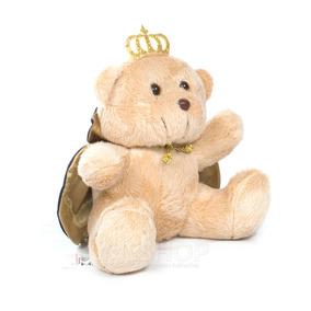 Urso Pelúcia Principe Coroa Com Capa Azul Mini 16cm