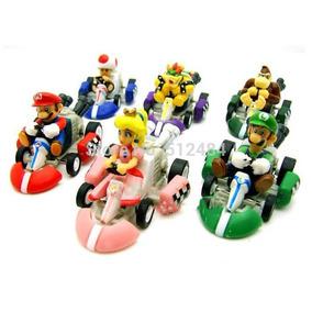 Mario Kart Lote 6 Bonecos Pvc Com Fricção A Pronta Entrega