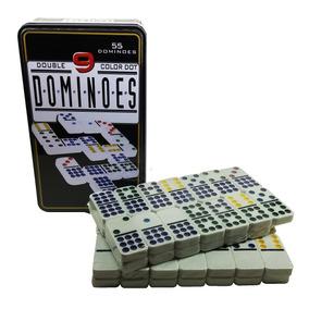 Domino Mexicano 9 Double Lata Com 55 Peças Coloridas Luxo