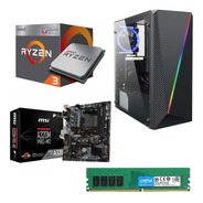 Pc Gamer Amd Ryzen 3 Radeon Vega Hdd 1tb Msi A320 4gb Ddr4 Hdmi Gabiente Lnz Led + Fuente 650w Cooler Led