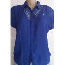 Camisa Em Chiffon, Detalhe Em Tule, Cor Azul. Tamanho P