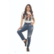 Jean Boyfriend Dama Cromo Jeans Bota Regular