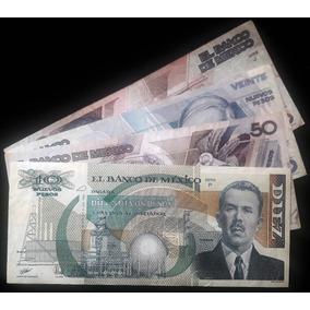 Set De 4 Billetes Mexicanos Antiguos Nuevos Pesos (usados)