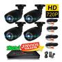 Kit Video Grabador Digital 4 Camara Bullet Cctv Hdmi Dvr Ahd