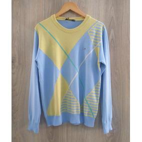 Suéter Masculino Biamar - Malha Tricot - Azul Com Amarelo