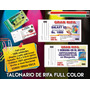 Talonarios De Rifas Tamaño Economico 1000 Numeros A Color