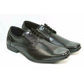 Sapato Social Com Cadarço Preto Liso Elegante Barato