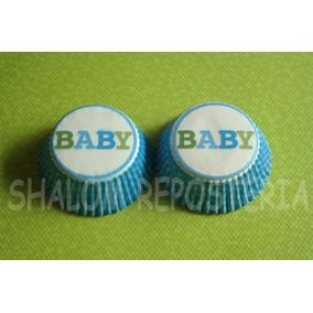 * Capacillos Cuadros Azules Baby Shower Boy Cupcake Fondant