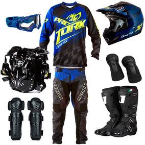 Kit Motocross Roupa De Trilha Pro Tork Shield Azul + Brinde