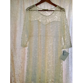 Vestido Zeiss &company Talla G En Color Blanco De Encaje