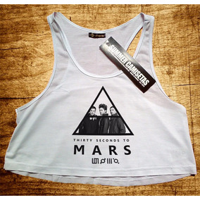 Blusa Cropped 30 Seconds To Mars Feminina Regata Camiseta