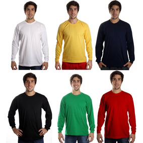 Kit Com 5 Camisetas Manga Longa Básica Lisa Camisa Blusa