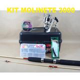 Kit Pesca Marine Sport Molinete 3000 Acessórios E Vara