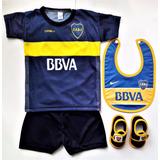 Kit Boca Bebe Camiseta+short+babero+escarpines Y River Ajuar