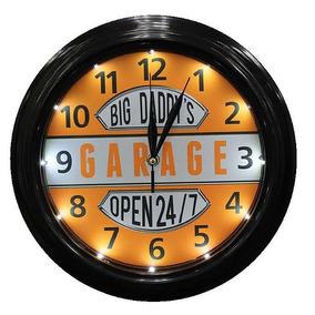 Reloj Vintage Retro Led Luminoso 24/7 Daddys Garage 0246
