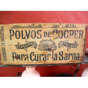 Cajon Madera Antiguo Polvos De Cooper Sin Tapa