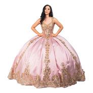 Vestido Largo De Quinceañera Glitter Encaje Cola Y Crinolina