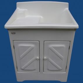 Tanque Lavar Roupas De Fibra 50 Litros Com Gabinete Difibra