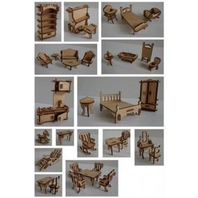 Kit 34 Mini Móveis Miniaturas Mdf Para Casa De Boneca