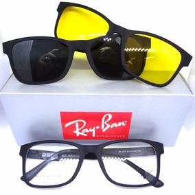 Armação Óculos Rb2075 + 2 Clipons Masculino E Feminino