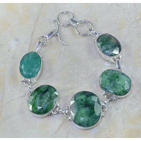 Pulseira Feminina Prata 925 Esmeraldas Pedras Naturais 39g