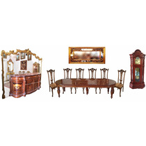 Sala De Jantar Completa Mesa Cadeiras Buffet Espelho