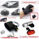 Kit Bicicleta Accesorios Guantes+casco+luz Led+candado Alarm