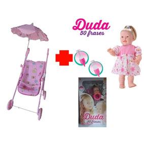 Boneca Duda + Carrinho De Boneca Com Sombrinha - Uliví