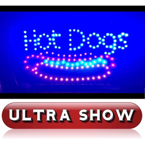 Placa Led Quadro Letreiro Luminoso Decorativo Hot Dog Rgb