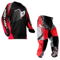 Calça Camisa Insane Infantil Protork Motocross Kids Vermelho