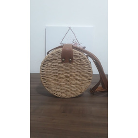 Bolsa Redonda Circle Bag De Palha Forrada