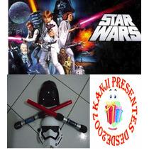 Kit 2 Mascara E 3 Espada Sabre Star Wars Espacial+pilhas