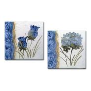Par De Quadros Para Sala Quarto Floral Azul 30x30cm R1
