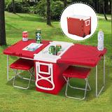Hielera Para Camping Con 2 Mesas Y 2 Sillas Plegables Rojo