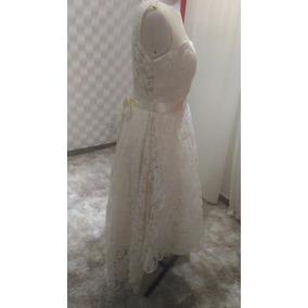 Vestido De Noiva/ Debutante Champanhe Renda Assimétrico
