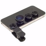 Kit Clip Lentes 3x1 Fisheye+wide E Macro Universal Clip Len