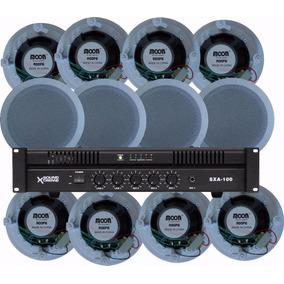 12x Parlante Techo Embutir Moon + Amplificador 100v Sxa100 W