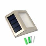 Luminária Luz Solar Inox Leds P Escadas Telhados Quintal Led