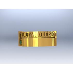 Anel Formatura / Grau Educação Física De Ouro 18k Esmeralda
