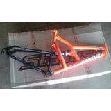 Quadro Bicicleta 26 Amortecedor/full Tras. Laranja Neon/ Pto