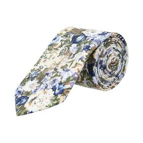 Corbata Royal Flush Beige Con Flores Azules, Verdes Y Aqua