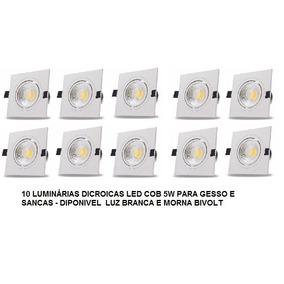 Kit 10 Luminária Led Quadrada Dicroica 5w Bivolt Br/mor