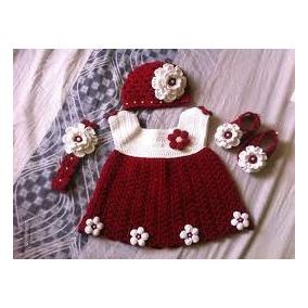 Conjunto Vestido Gorro Zapatos Niña Tejido Crochet Navidad