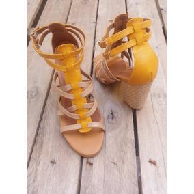 Sandália Inspiração Moda Salto Alto Feminino Gladiadora