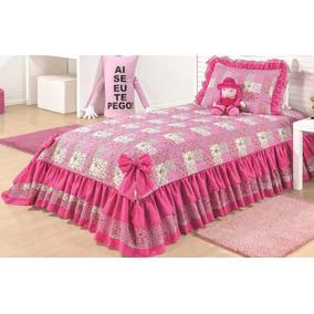 Colcha Solteiro Menina Juvenil Rosa Pink 3 Pcs Cobre Leito