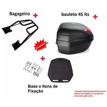 Bagageiro Ybr 125 Factor Suporte + Baú Bauleto 45 Litros