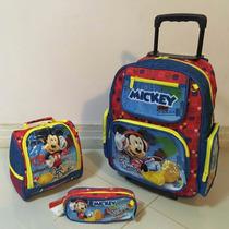 Mochila Infantil Mickey Com Rodinhas Lancheira E Estojo Kit