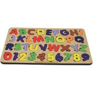 Jogo Encaixe Educativo Tabuleiro Alfabeto+números Brinquedo